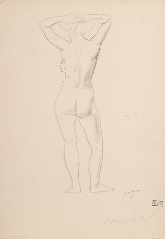 Jules Pascin (French, 1885-1930) Standing Female Nude from behind, circa 1907 unframed 31 x 21.5cm (