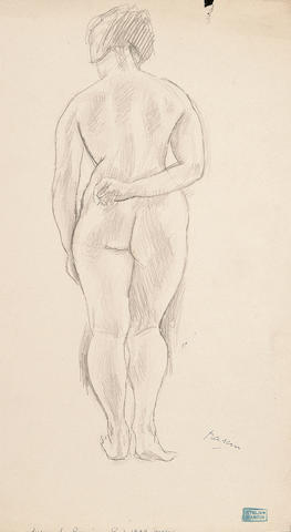 Jules Pascin (French, 1885-1930) Standing female nude unframed 30.5 x 17.5cm (12 x 7in)
