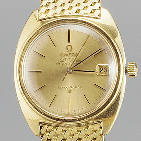 Omega. An 18ct gold automatic centre seconds calendar bracelet watch  Constellation Chronometer, 1969