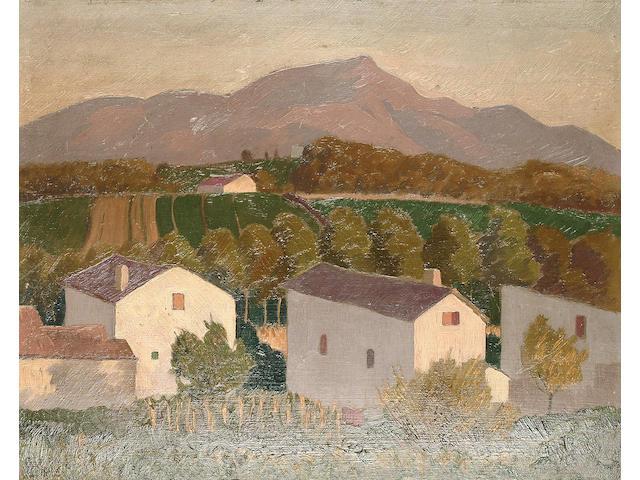 Ramiro Arrue (Spanish, 1878-1944) 'Maisons au soleil' unframed 37 x 46cm (14 1/2 x 18in)