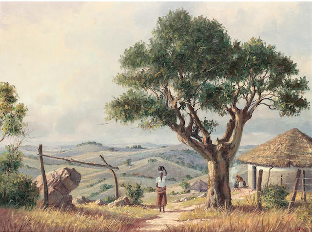 Guiseppe Catty (South African, 20th century), On the road to Ixopo, Natal; A Cape homestead a pair 45.8 x 61 cm. (2)