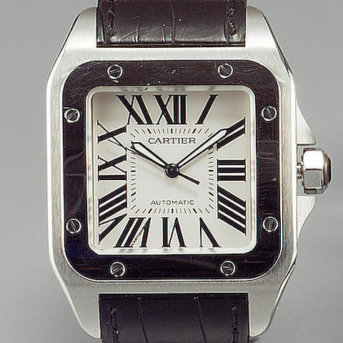 Cartier. A fine gents oversize stainless steel automatic centre seconds wristwatch  Santos 100, 2005