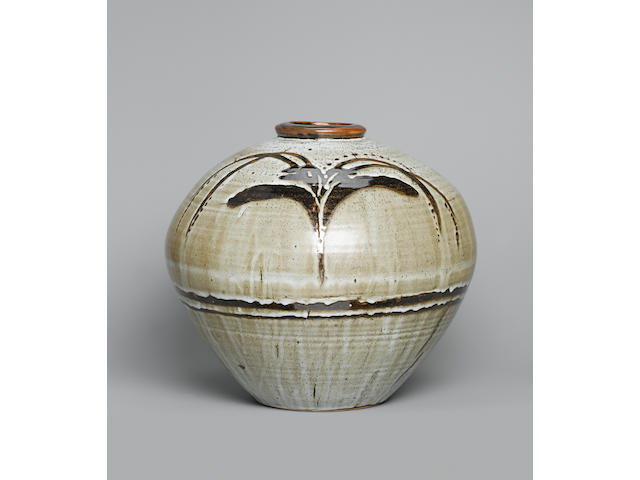David Leach a large globular Pot with 'Foxglove' design, circa 1990 Height 14in. (35.5cm)