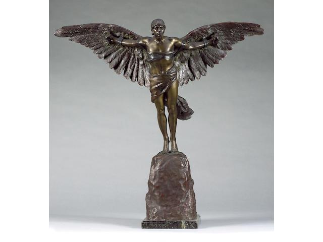 'La Conqueste de L'Air', by Georges Colin, French, circa 1911, Height 30in.