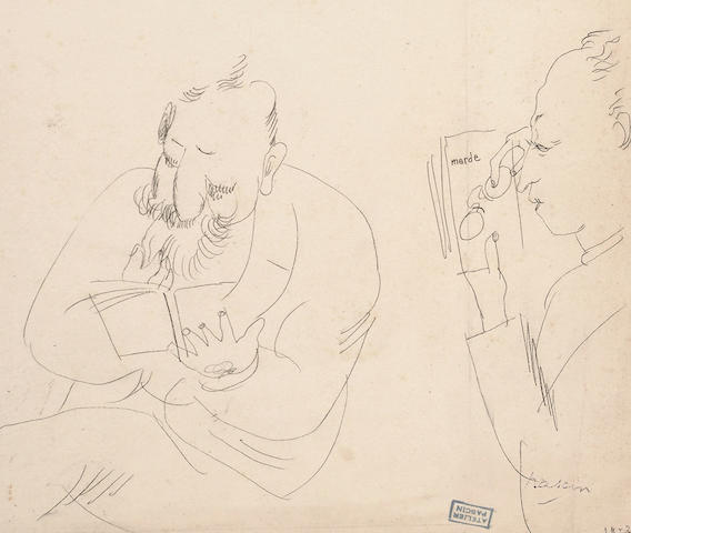Jules Pascin (French, 1885-1930) Two men reading unframed 17.5 x 20.5cm (7 x 8in)