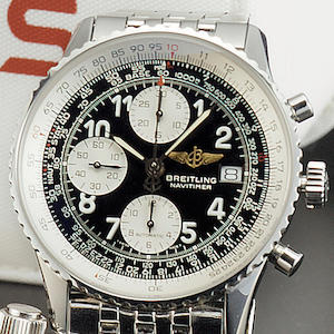Breitling. A stainless steel automatic chronograph wristwatch together with box & papers 'Navitimer' Ref:404, recent
