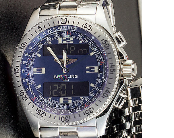 Breitling. A stainless steel dual display chronograph bracelet watch with box & papers'B-1' recent