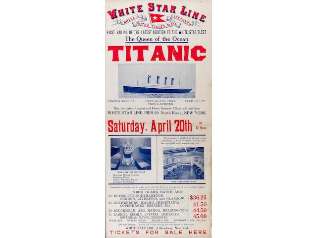 An Original White Star Line Titanic Return Poster 9 x 20in (23 x 51cm) framed.