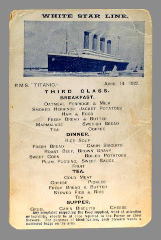 An Extremely Rare Original Titanic 3rd Class Menu Postcard, 14th April 1912 8.8x14cm(3.5x5.5in)