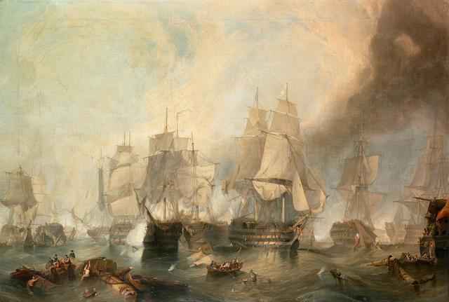 M.** Thompson (British, 19th. Century) The Battle of Trafalgar 76 x 111.4cm. (29 7/8 x 43 7/8in.)