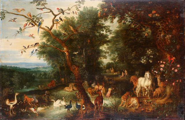 Jan Brueghel the Younger (Antwerp 1601-1678) The Garden of Eden 58.5 x 89.5 cm. (23 x 35¼ in.)