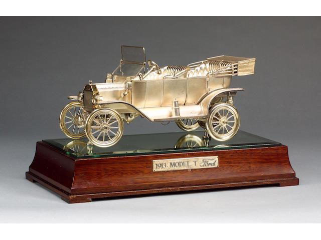 A fine Sterling silver Model 'T' Ford by Garrard, 1979,