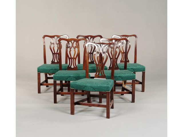 A matched set of six George III mahogany dining chairs