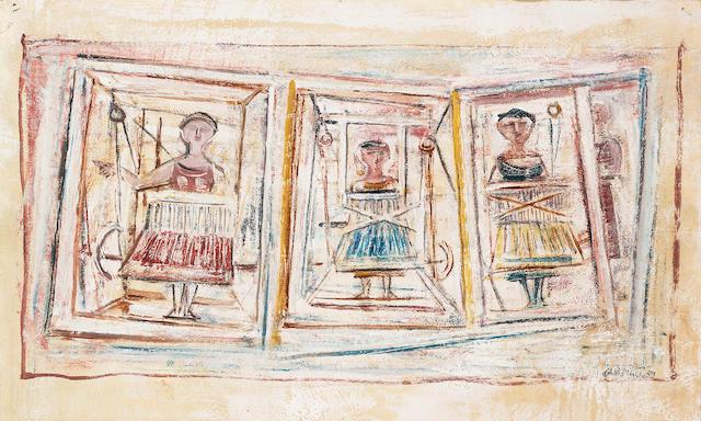 Massimo Campigli (1895-1971) Tre Donne 39 x 63.8 cm. (15 3/8 x 25 1/4 in.)