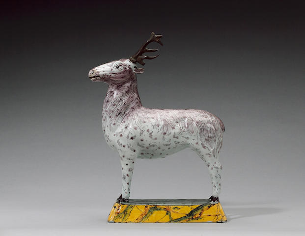 A rare Dutch Delft model of a stag circa 1770