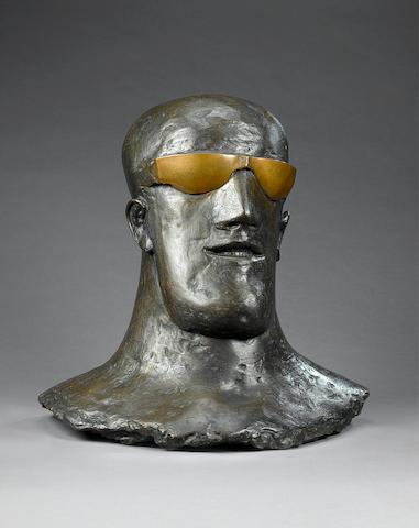 Dame Elisabeth Frink R.A. (1930-1993) Goggled Head II (teeth) 63.5 cm. (25 in.) high