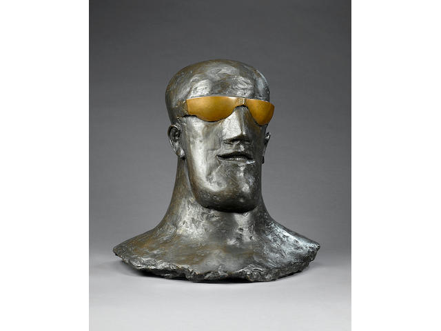 Dame Elisabeth Frink R.A. (1930-1993) Goggled Head II (teeth) 63.5 cm. (25 in.) high