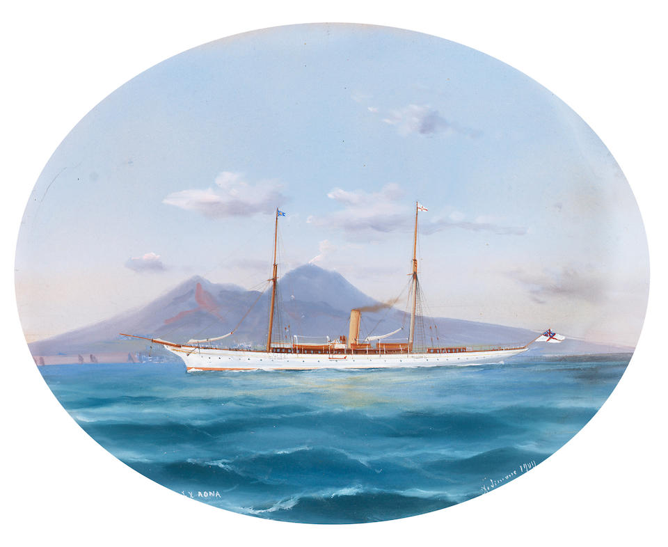 Tommaso de Simone (Italian, 19th. Century S.Y. 'Rona' off Naples and in rough seas each 20 x 25cm. (