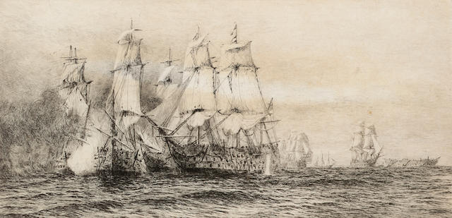 William Lionel Wyllie Battle of Trafalgar Etching, on wove signed and numbered 'No.CXCV' in pencil; faint time staining, unexamined out of the frame, 210 x 420mm (8 1/4 x 16 1/2in)(PL)