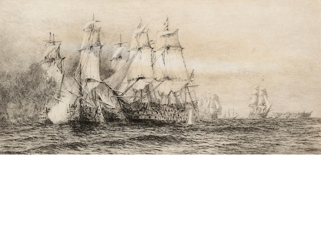William Lionel Wyllie Battle of trafalgar Etching, on wove signed and numbered 'No.CXCV' in pencil;