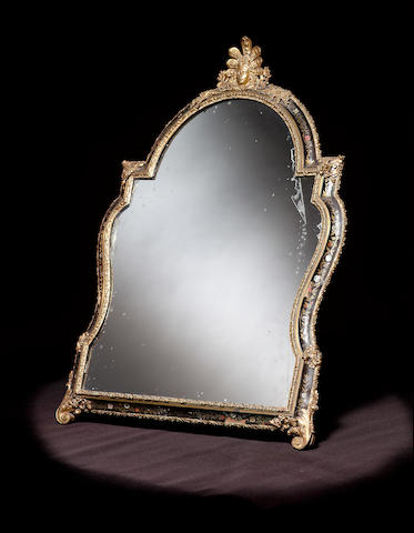 A Regence tortoiseshell and cut brass inlaid toilet mirror