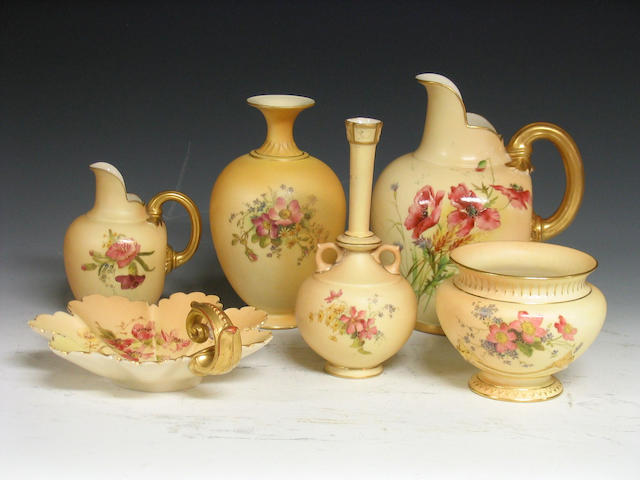Royal Worcester , A collection of six pieces of blush ivory ground wares,