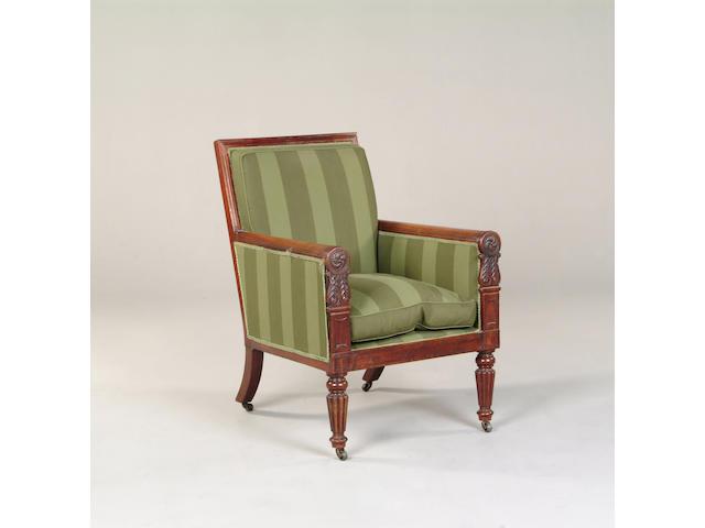 A William IV mahogany framed armchair