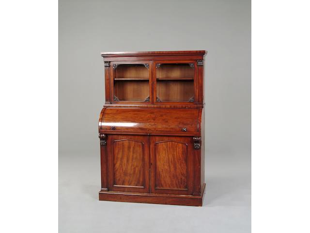 A Victorian mahogany cylinder bureau