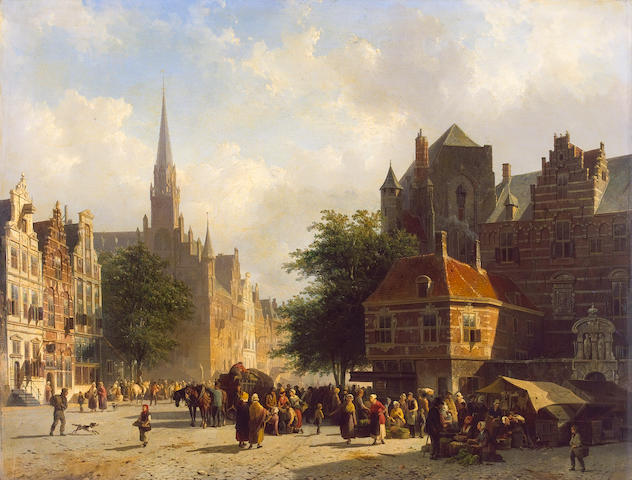 Cornelis Springer (Dutch 1817-1891) Market day in a Dutch town with numerous figures conversing in a square with stalls and a laden cart and horses 60 x 77.5 cm. (23 1/2 x 30 1/2 in.)