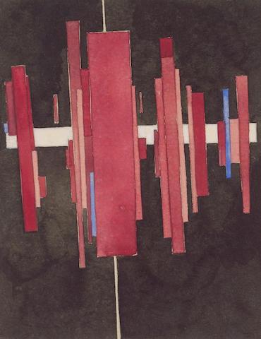 Ilya Chasnik (1902-1929) Suprematist Arkhitekton in Red, Vitebsk 19.7 x 15.9 cm. (7 3/4 x 6 1/4 in.)