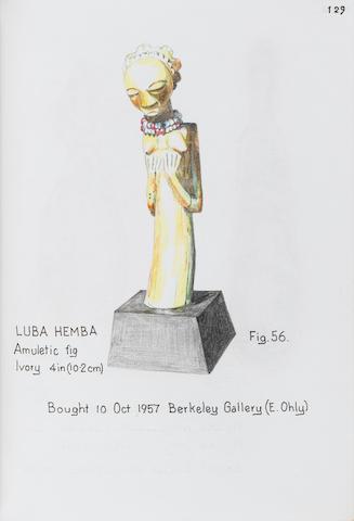 Luba Hemba ivory female figural pendant 10.2cm