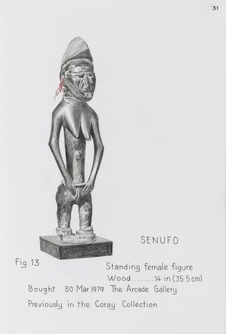 A Senufo standing female figure  35.5cm