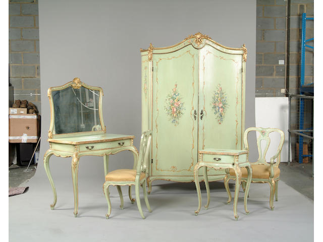 A polychrome and gilt decorated bedroom suite in the Louis XV style