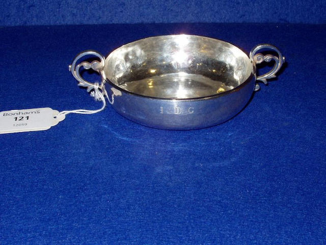 An 18th century Channel Islands silver Jersey pattern christening bowl, stamped once on side with makers' mark LC below a crown, Jersey circa 1760,
