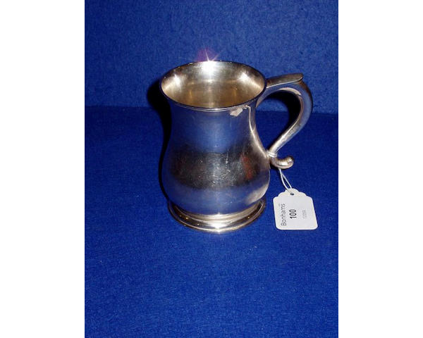 An 18th century Channel Islands  silver half pint mug by Thomas David Mauger, Jersey, circa 1750,