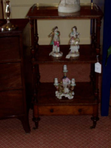 A Victorian figured walnut, tulipwood cross-banded and boxwood line inlaid what-not,
