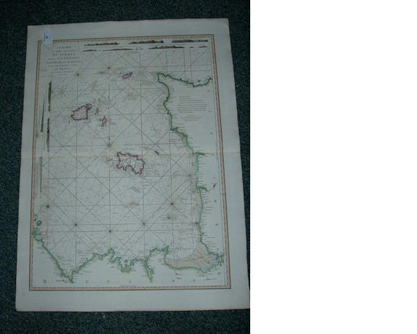 L.S. De La Rochette: A Chart of the Islands of Jersey and Guernsey, Sark, Herm and Alderney with the adjacent coast of France