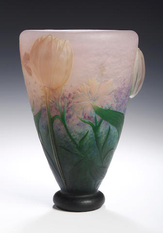 Daum, an internally decorated, applied and engraved glass  vase, circa 1910,