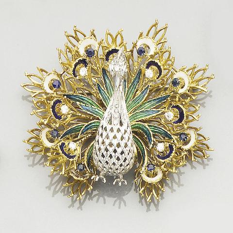A diamond and enamel peacock brooch
