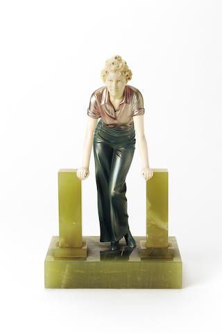 Ferdinand Preiss, circa 1925 'The Stile' a Fine Cold-Painted Bronze and Carved Ivory Figure