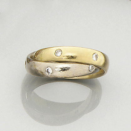 A diamond-set double hoop eternity ring