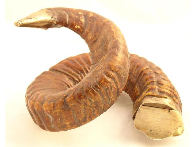 A Victorian Masonic ram's horn snuff mull,