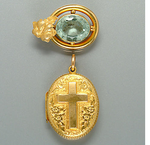 A 19th century aquamarine brooch,, circa 1860