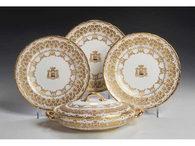 Royal Crown Derby, A part dinner service, dated 1918 and 1919,