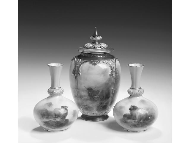Royal Worcester, A pair of bottle vases by Harry Davis, dated 1907,