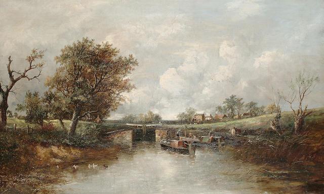 Joseph Thors (British fl.1863-1900) At the lock-gate, 56 x 91.5 cm. (22 x 36 in.)