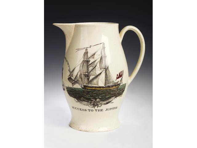 A large Liverpool creamware jug, circa 1798,