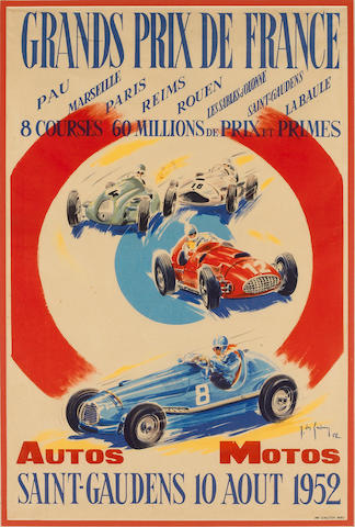 An original 1952 Grand Prix de France advertising poster 38x59cms.