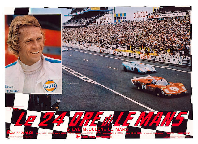 A rare and original 'Le 24 Ore di Le Mans' cinema advertising poster 66x44cms.