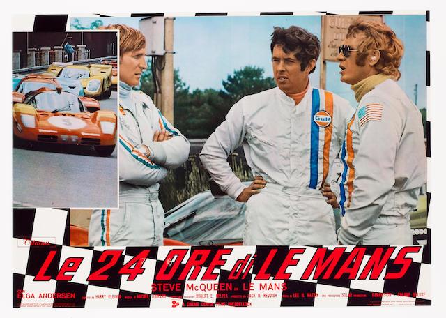 A rare and original 'Le 24 Ore di Le Mans' cinema advertising poster 66x44cms.